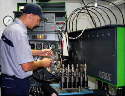 Diesel Technician at diesel test bench